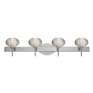 Besa Lighting 4SW-5612GL Lasso 4-Light Reversible Halogen Bathroom Vanity Light with Glitter Glass Shades - N/A
