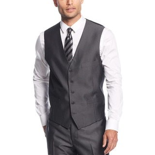 INC International Concepts Herringbone Sharkskin Button Front Vest Charcoal