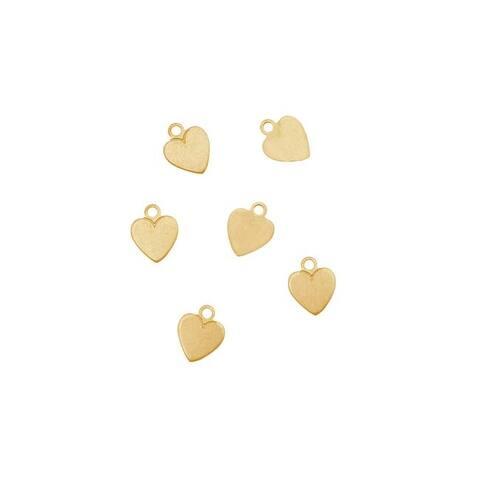 Solid Brass Small Heart Pendant Blanks - 7.5x6mm 24 Gauge (6)