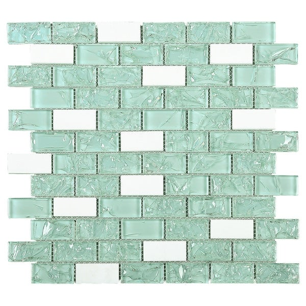 """TileGen. Crushed 1"""" x 2"""" Crackle Glass and Stone Mosaic Tile in Green/White Wall Tile (10 sheets/9.6sqft.)"""