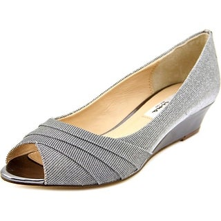 Nina Rowan Women Open Toe Canvas Silver Wedge Heel