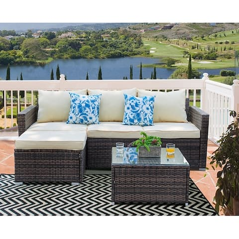 Patio Furniture 3-piece Resin Wicker Sectional Sofa