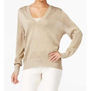 MICHAEL Michael Kors NEW Gold Womens Size XL Metallic V-Neck Sweater