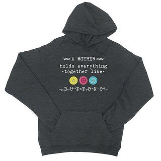 Mother Like Buttons Unisex Cool Grey Fleece Hoodie For Mother's Day