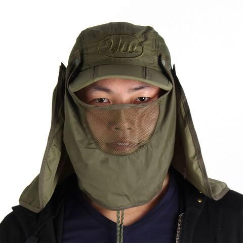 Unique Bargains Men Women Detachable Hiking Fishing Cap Sun Hat with Hood Flap