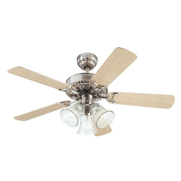 "Westinghouse 7843565 Newtown 42"" 5 Blade Hanging Indoor Ceiling Fan w/ Reversible Motor, Blades, Light Kit, & Down Rod Included"