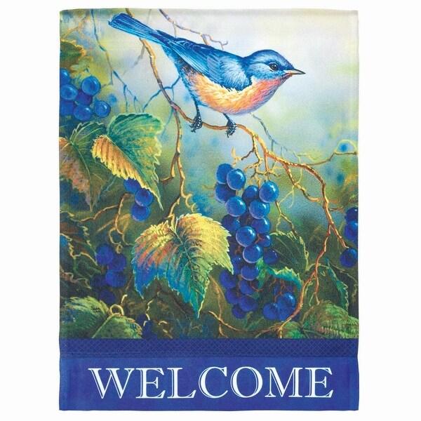 "Green and Blue Bird ""Welcome"" Printed Outdoor Garden Flag 18"" x 13"" - N/A"
