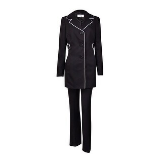 Le Suit Women's Cannes Contrast-Piped Pant Suit (4, Black/Vanilla Ice) - black/vanilla ice - 4