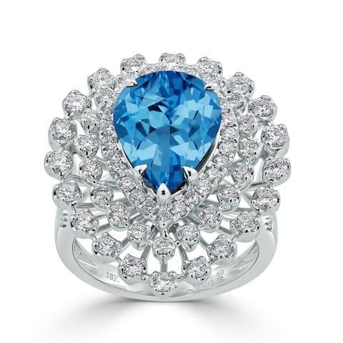Auriya 5 5/8ct Pear-cut Blue Topaz and Halo Diamond Ring 1 1/2cttw 18K Gold