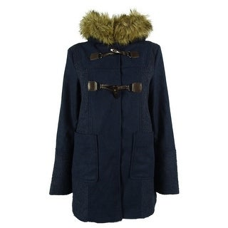 Coffeeshop Women's Faux-Fur Trim Coat - Navy