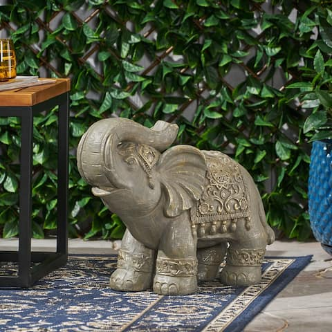 Hayesville Outdoor Cast Stone Outdoor Elephant Garden Statue by Christopher Knight Home