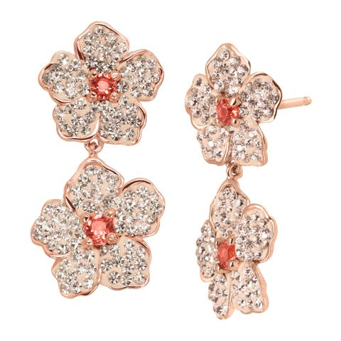 Crystaluxe Double Flower Drop Earrings with Pink Swarovski Crystals in 18K Rose Gold-Plated Sterling Silver
