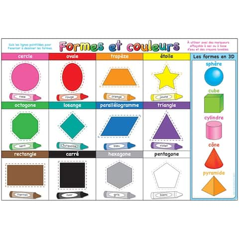 (10 Ea) Chart French Shapes and Colors Dry-Erase Surface