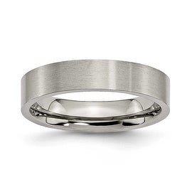 Chisel Flat Brushed Titanium Ring (5.0 mm)