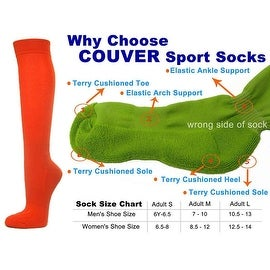 Dark Orange Couver Knee High Unisex Sports Athletic Baseball Softball Socks(3 Pairs)