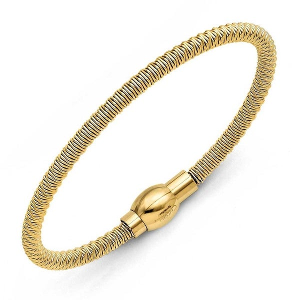 Chisel Stainless Steel Yellow IP-plated Polished & Textured Bracelet