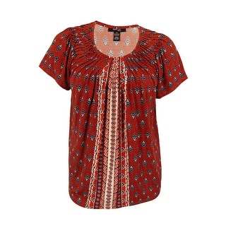 Style & Co. Women's Plus Size Printed Pleated Top