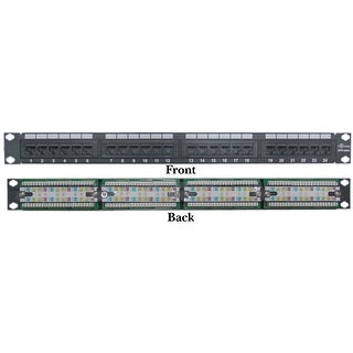 Offex Rackmount 24 Port Cat6 Patch Panel, Horizontal, 110 Type, 568A & 568B Compatible, 1U