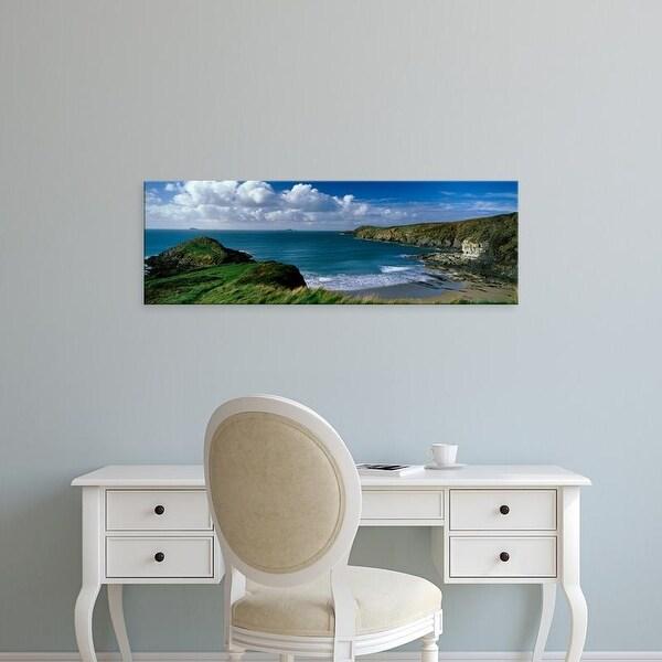 Easy Art Prints Panoramic Image 'Coastline, Trwynhwrddyn, Whitesand Bay, Porth Lleuog, Pembrokeshire, Wales' Canvas Art