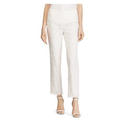RALPH LAUREN Womens New 1420 White Lace Straight leg Casual Pants 6
