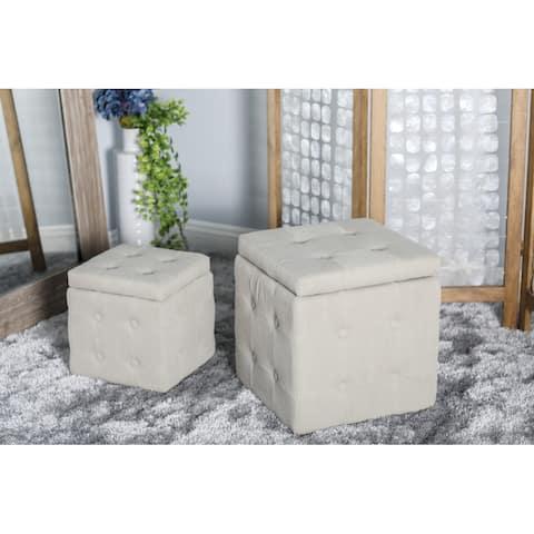 Beige Cotton Modern Storage Stool (Set of 2) - 16 x 16 x 17