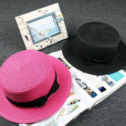 Summer Boater Ribbon Bowknot Solid Color Round Flat Straw Sun Cap Women Hat