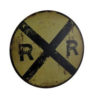 Vintage Finish Round RR Railroad Crossing Sign 12 Inch - YELLOW