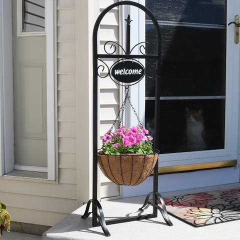 Sunnydaze Decorative Welcome Sign and Hanging Flower Basket Planter Stand - 48""