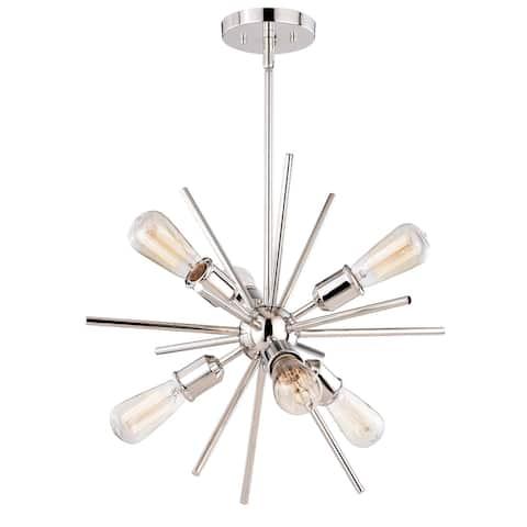 Estelle 6 Light Polished Nickel Mid-Century Modern Sputnik Pendant - 19-in W x 19.5-in H x 19-in D