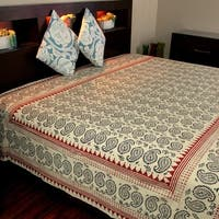 Cotton Floral Paisley Tapestry Wall Hanging Tablecloth Bedspread Beach Sheet Twin 70 x 106 inches Off White - 70 x 106 inches