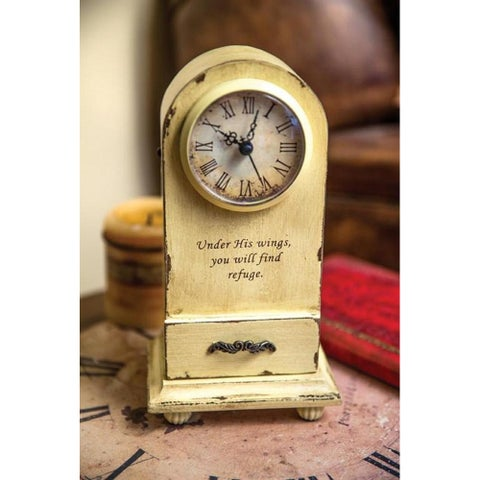 """9.25"""" Ivory Vintage Inspired Inspirational Quote Decorative Table Clock"""