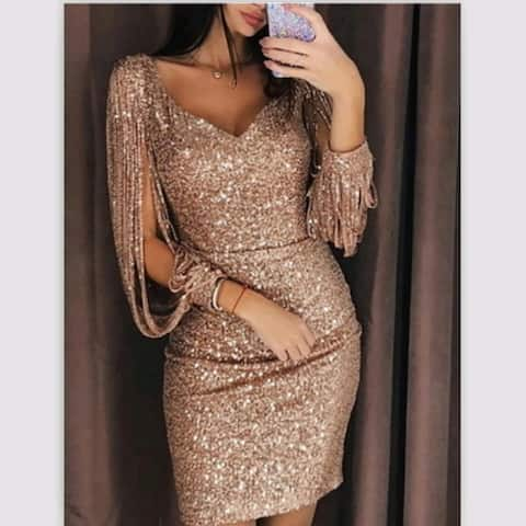 Women Party Night Deep V Neck Elegant Women's Sheath Slim Dress Tassel Luxury Dinner Mini Dress