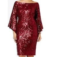 Betsy & Adam Red Women's 18W Plus Sequin Bell-Sleeve Sheath Dress