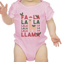 Falala Llama First Christmas Infant Bodysuit Gift Pink For Baby Girl