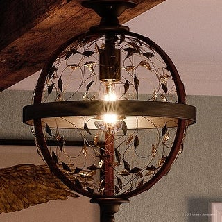 "Luxury Art Nouveau Ceiling Light, 16""H x 12""W, with Style, Walnut Stained Wood, Midnight Bronze Finish"
