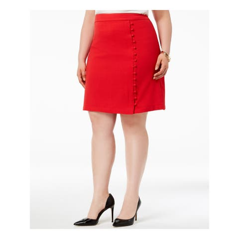 NINE WEST Womens Red With Side Buttons Texture Crepe Above The Knee Skirt Plus Size: 20W