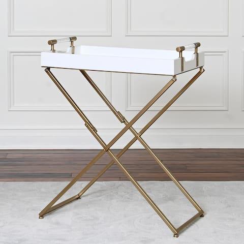 Abbyson Sophie White Iron Tray Table