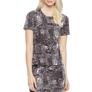 Vince Camuto Womens Dress Top Printed Short Sleeves