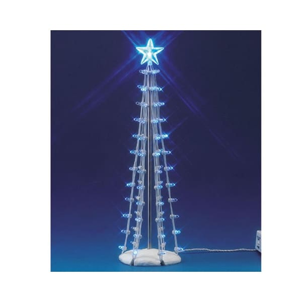 """Lemax Christmas Village Battery Operated 9"""" Lighted Blue Silhouette Tree #74657"""