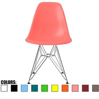 2xhome Pink - Eames Style Molded Bedroom & Dining Room Side Ray Chair with Eiffel Metal Leg Base