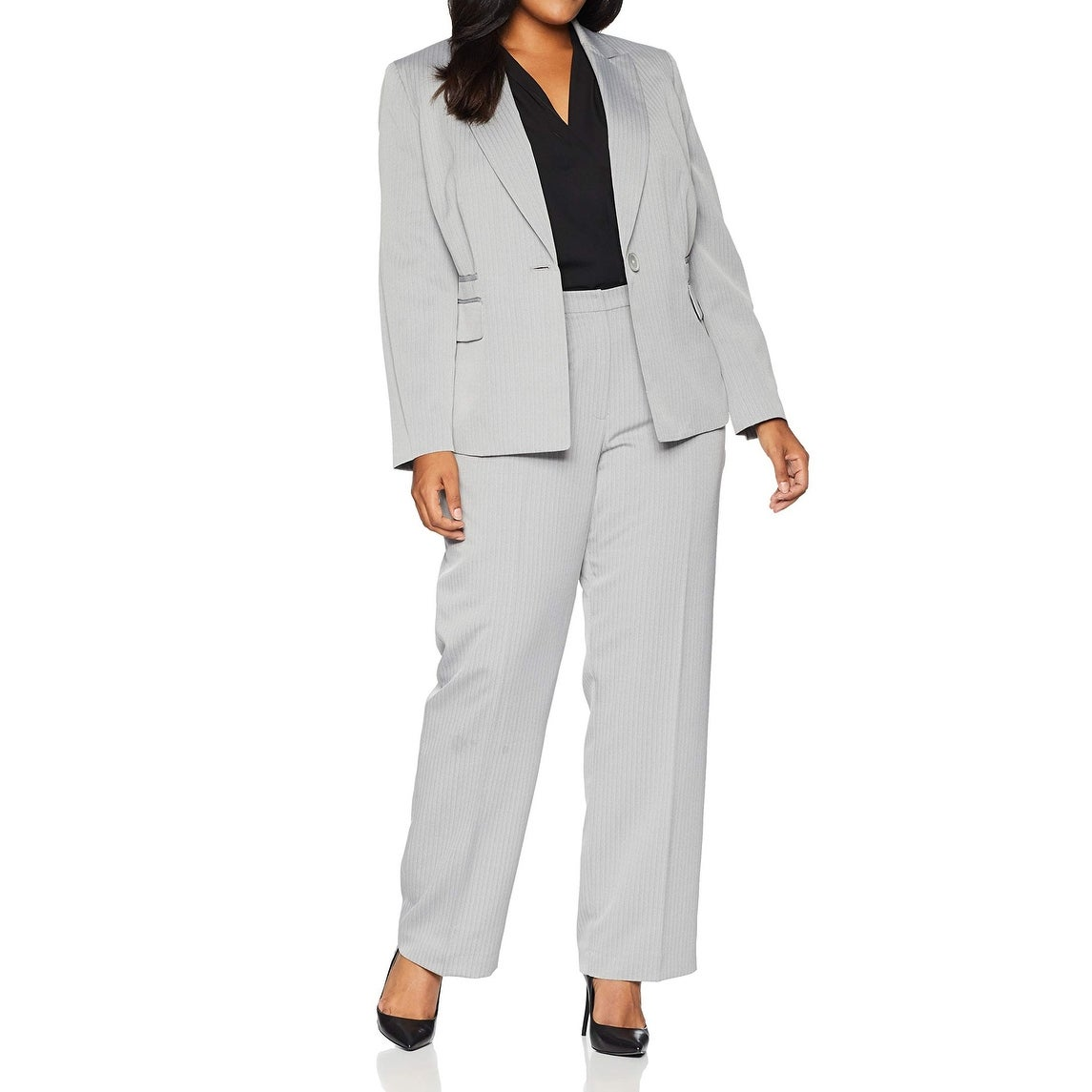 Le Suit Womens Size Plus Stripe Herringbone 2 Bttn Notch Lapel Pant Suit
