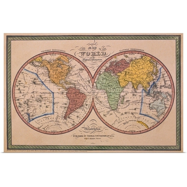 """""""Antique map of the world"""" Poster Print"""