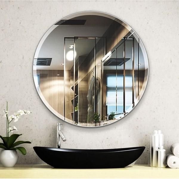 Porch & Den Salix Beveled Frameless 28-inch Round Wall Mirror. Opens flyout.