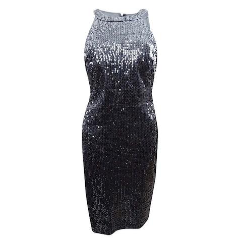 Nightway Women's Plus Size Velvet Sequined Sheath Dress - Charcoal