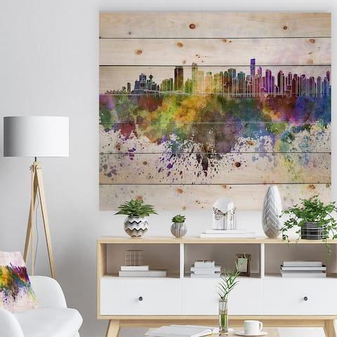 Designart 'Vancouver Skyline' Cityscape Print on Natural Pine Wood - Purple