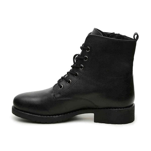 Steve Madden Womens Antonie Leather Closed Toe Ankle Combat Boots