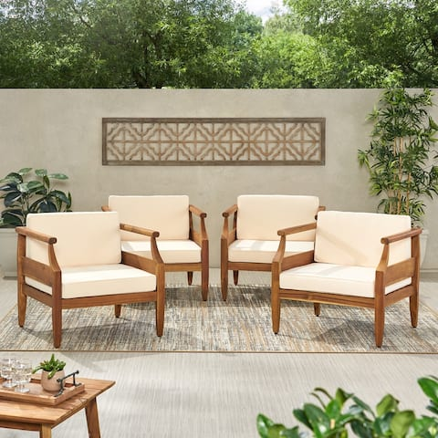 Aston Outdoor Mid-Century Modern Acacia Wood Club Chair With Cushion (Set of 4) by Christopher Knight Home
