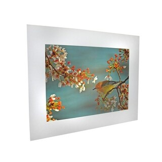 National Geographic Matted Print - Warbler On Cherry Tree - 16 x 20 Inches