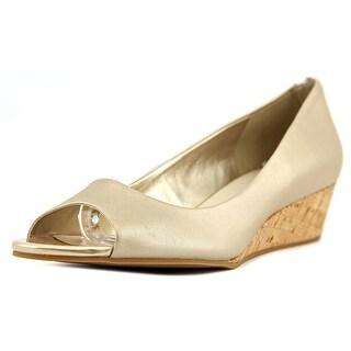 Cole Haan Elsie OT. Wedge. II Women Open Toe Leather Gold Wedge Heel