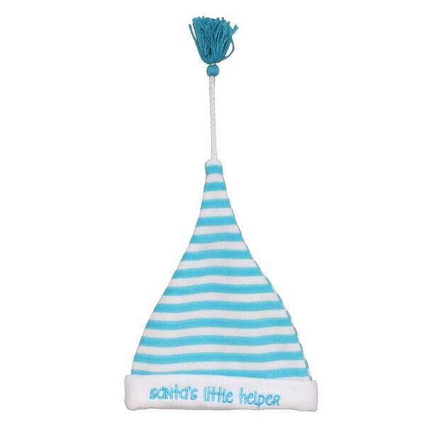 "8"" Blue and White ""Santa's Little Helper"" Baby Christmas Santa Hat with Tassel"